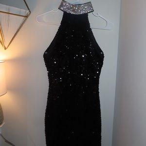 Women's Sequin Mini Dress With Diamond Collar